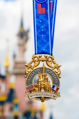 (July 21, 2016): NThis unique medal is dedicated to Disneyland Paris Half Marathon Weekend runners who have also participated in a runDisney race in the United States, either at Disneyland Resort in California or Walt Disney World Resort in Florida. This gold medal features Sleeping Beauty Castle as well as the U.S. and French flags. The inaugural Disneyland Paris Half Marathon Weekend is the first international runDisney race, taking place Sept. 23-25, 2016.